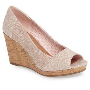 Toms Stella Pink Peep Toe Wedge Cork 7.5